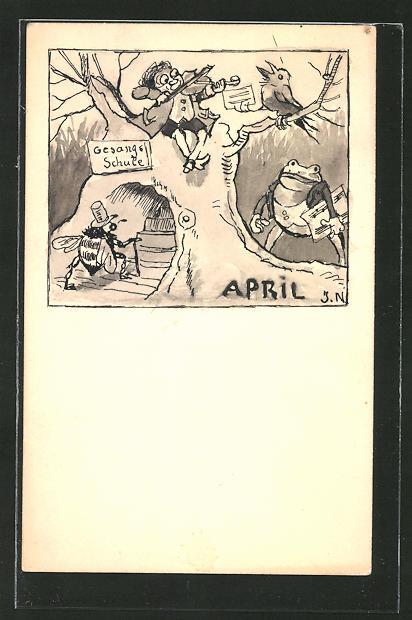 Künstler-AK Handgemalt: Monat April, Zwerg mit Geige, Hummel, Frosch, sign. JN