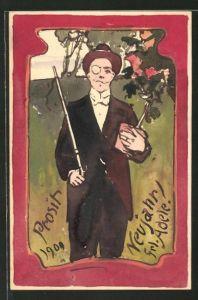 Künstler-AK Handgemalt: eleganter Herr mit Monokel & Blumentopf