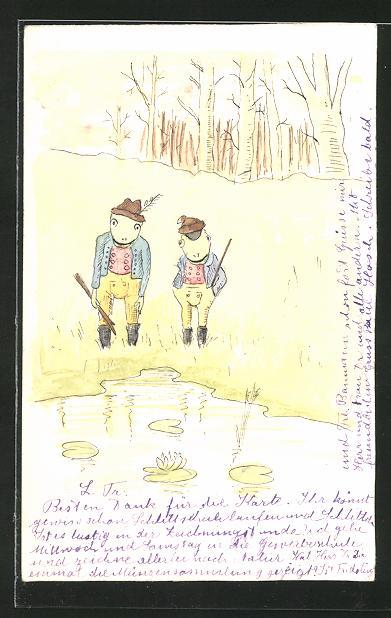 Künstler-AK Handgemalt: 2 Frösche in Lederhosen, sign. Paul Hosch