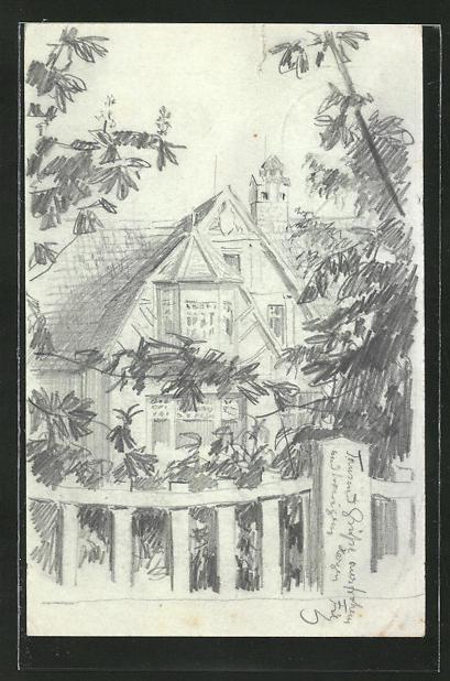 Künstler-AK Handgemalt: Leuenberg, Haus vom Gartenzeum aus gesehen, sign. Fritz Weissenborn