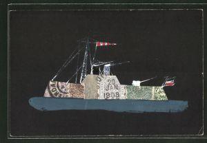AK Briefmarkencollage, Kriegsschiff auf See