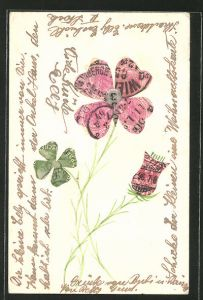 AK Briefmarkencollage, Glücksklee & Blüte