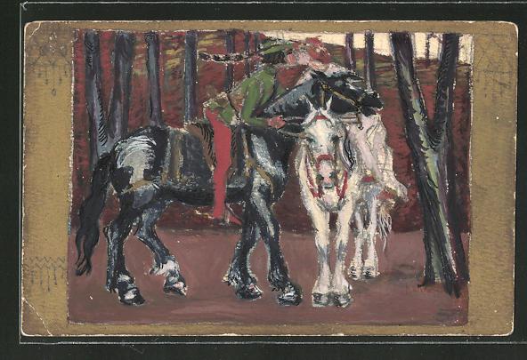 Künstler-AK Handgemalt: Liebespaar auf Pferd beim Kuss