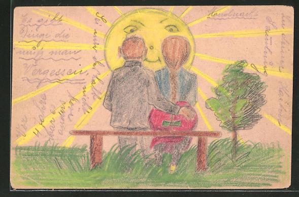 Künstler-AK Handgemalt: Liebespaar im Sonnenschein