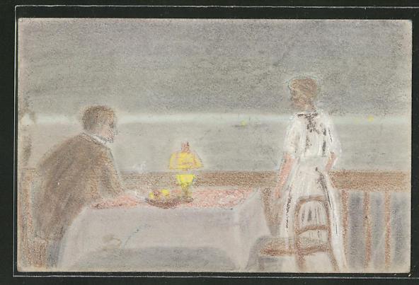 Künstler-AK Handgemalt: Paar auf einer Seeterrasse im Lampenlicht