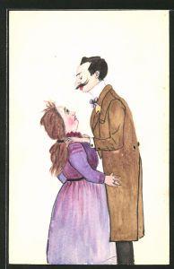 Künstler-AK Handgemalt: ungleiches Liebespaar, langer schlanker Mann & kleine dicke Frau