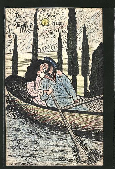 Künstler-AK Handgemalt: Liebespaar in einem Ruderboot, Matrose