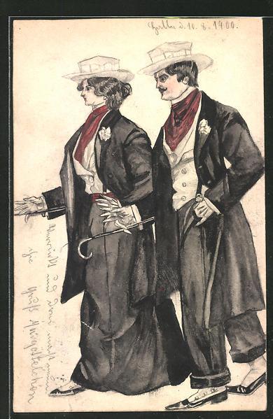 Künstler-AK Handgemalt: Liebespaar in eleganter schwarzer Kleidung