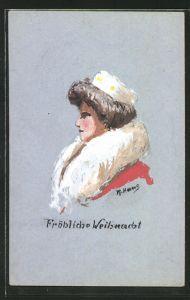Künstler-AK Handgemalt: Dame im Pelzmantel mit Pelzmütze