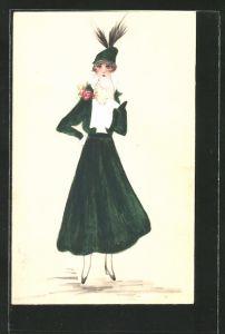 Künstler-AK Handgemalt: elegante Dame in grünem Kostüm mit Perlenkette & Federhütchen