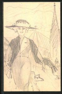 Künstler-AK Handgemalt: Dame mit Hut & Windhund