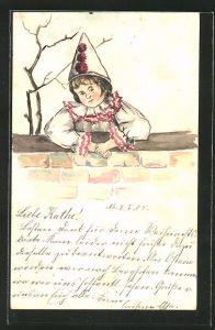 Künstler-AK Handgemalt: Kind im Harlekin-Kostüm