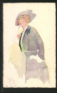 Künstler-AK Handgemalt: elegante Dame mit Hut & Spazierstock