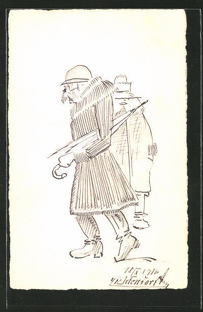 Künstler-AK Handgemalt: 2 Männer mit Kappe & Regenschirm