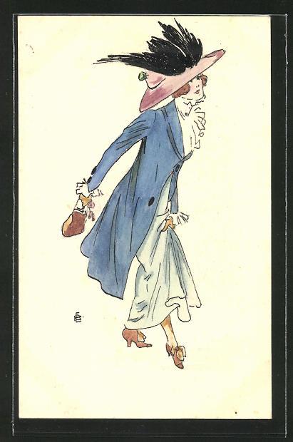Künstler-AK Handgemalt: Jugendstil, elegante Dame trägt einen Hut mit Schwanenflügeln