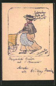 Künstler-AK Handgemalt: Fischverkäuferin mit Schürze & Handkarren