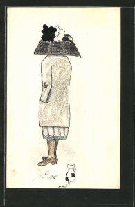 Künstler-AK Handgemalt: Dame mit riesigem Hut & Kätzchen