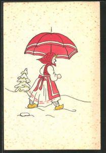 Künstler-AK Handgemalt: Mädchen mit Holzschuhen, Kopftuch & Schirm