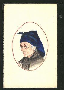 Künstler-AK Handgemalt: Porträt einer alten Frau mit Kopftuch