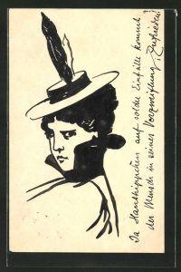 Künstler-AK Handgemalt: junge Dame mit Feder-Hut