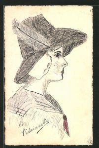 Künstler-AK Handgemalt: elegante Dame mit Hut & Feder