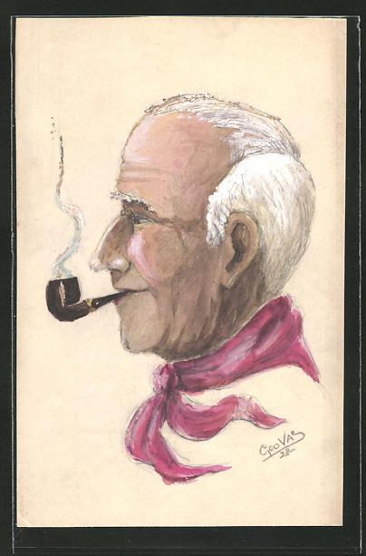 Künstler-AK Handgemalt: älterer Herr mit Pfeife & rotem Halstuch
