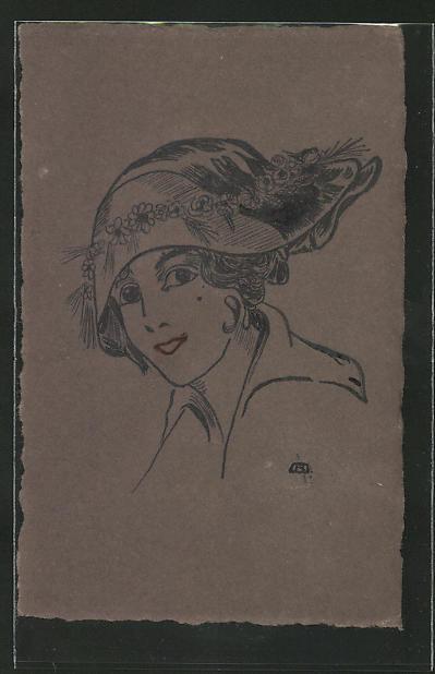 Künstler-AK Handgemalt: elegante junge Frau mit Hut