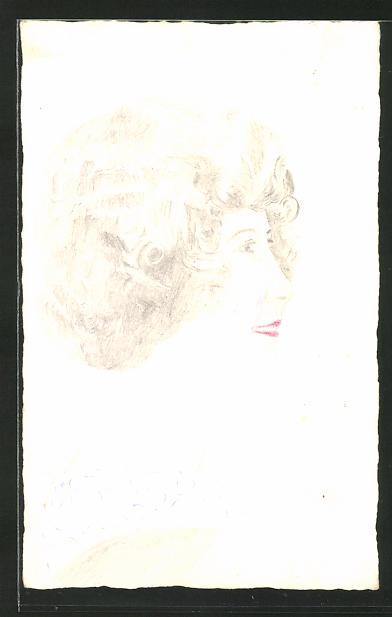 Künstler-AK Handgemalt: seitliches Porträt einer jungen Frau
