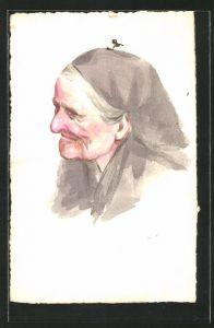 Künstler-AK Handgemalt: alte Frau mit Kopftuch