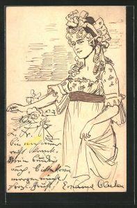Künstler-AK Handgemalt: Porträt einer Dame mit Hut