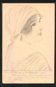 Künstler-AK Handgemalt: junge Frau mit Kopftuch & Ohrring