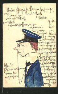 Künstler-AK Handgemalt: Karikatur, uniformierter Herr mit Kneifer-Brille