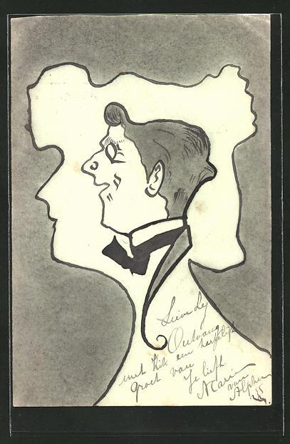 Künstler-AK Handgemalt: Porträt eines Mannes im Schattenriss eines Frauenportraits