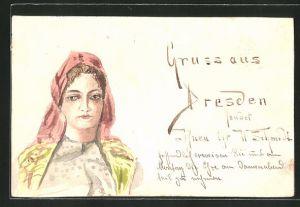 Künstler-AK Handgemalt: junge Frau mit Kopftuch