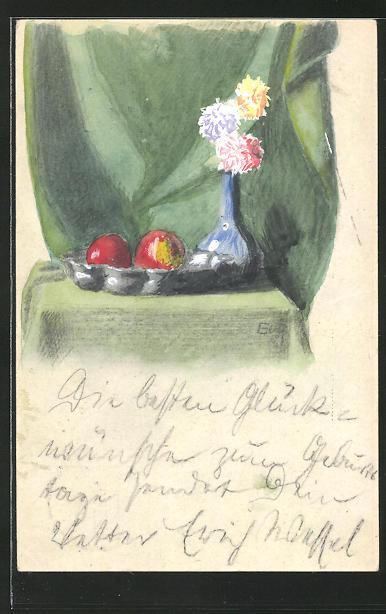 Künstler-AK Handgemalt: Blumenvase & Früchteschale vor grünem Vorhang