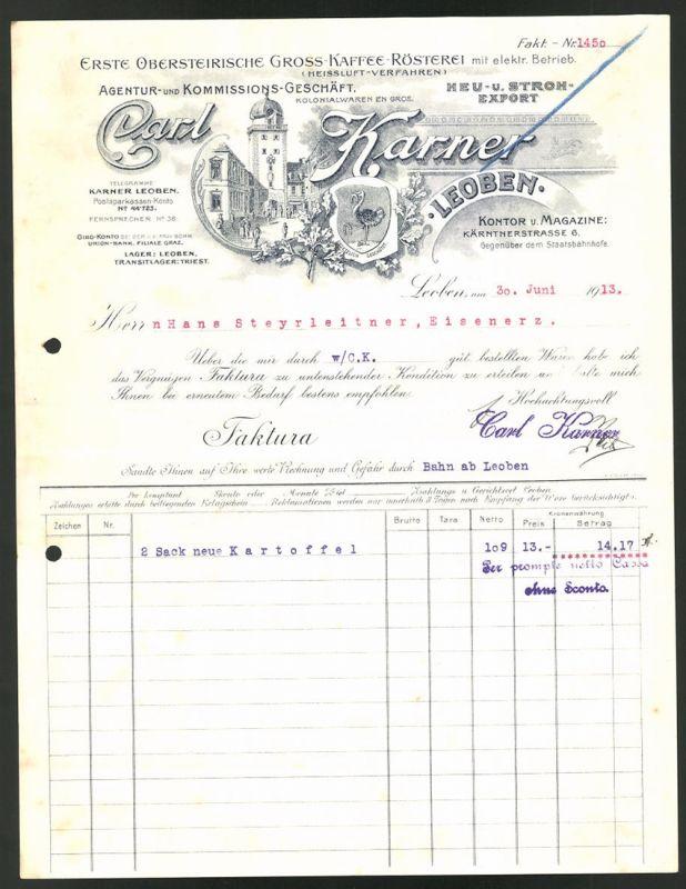 Rechnung Leoben 1913, Kaffee-Rösterei Calr Karner, Strassenpartie in Leoben & Schutzmarke mit Strauss