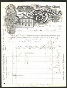 Rechnung Wien 1906, Senf-Fabrik Franz Schulz, Fabrik & Medaillen