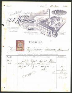 Rechnung Wien 1904, Öl & Essenzen-Fabrik A. & E. Hofmann, Fabrik & Medaillen