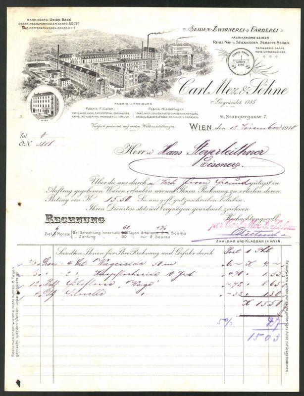 Rechnung Wien 1910, Seiden Zwirnerei & Färberei Carl Mez Söhne, Fabrik in Freiburg & Geschäftshaus in Wien