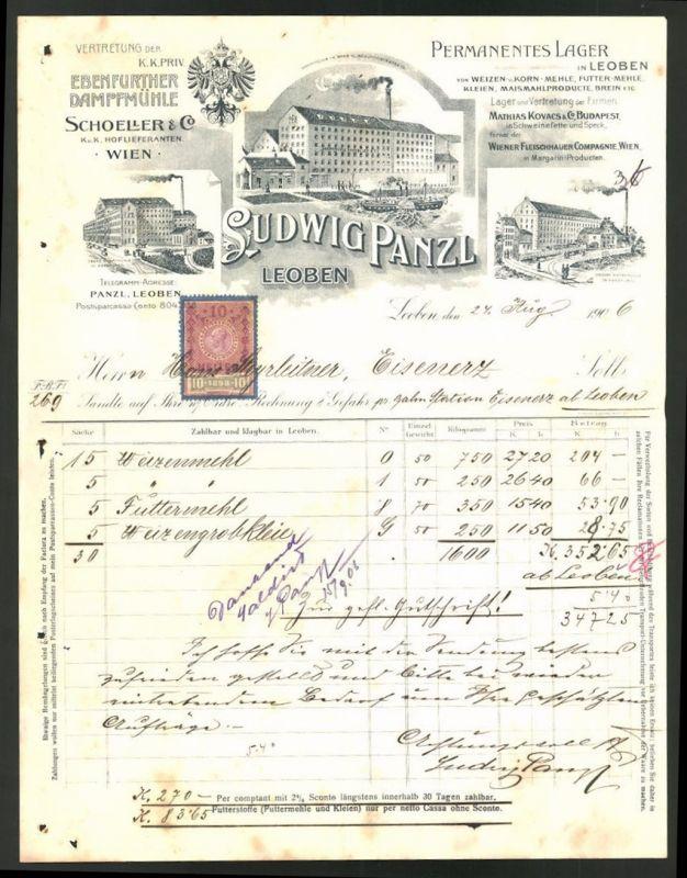 Rechnung Leoben 1906, Vertretung der Ebenfurther Dampfmühle, Fabriken in Ebenfurth & Leoben