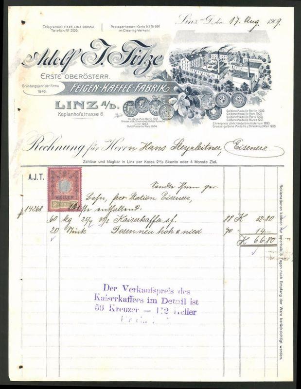 Rechnung Linz a. D. 1909, Feigenkaffee-Fabrik Adolf Titze, Fabrik und Medaillen
