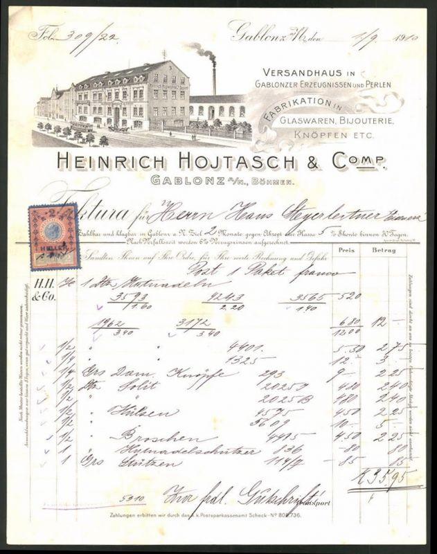 Rechnung Gablonz / Böhmen 1910, Glaswaren & Knöpfe-Fabrikation Heinrich Hojtasch & Comp., Strassenbahn & Geschäftshaus