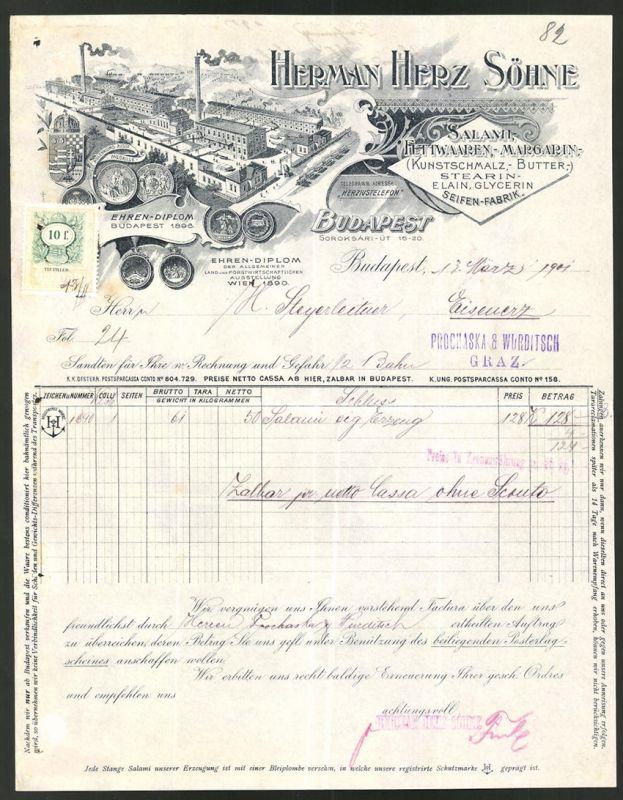 Rechnung Budapest 1901, Salami & Fettwaren-Fabrik Hermann Herz, Fabrik, Medaillen & Wappen