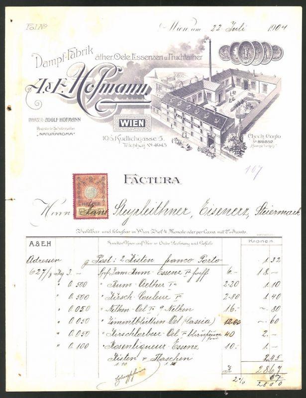Rechnung Wien 1904, Fabrik von Ölen & Essenzen A. & E. Hofmann, Fabrik & Medaillen