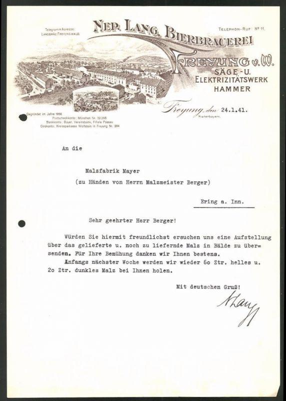 Briefkopf Freyung 1941 Bierbrauerei Nep Lang Säge Und