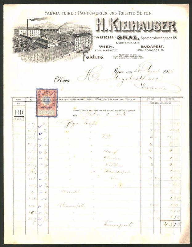 Rechnung Graz 1910, Parfüm & Seifen-Fabrik H. Kielhauser, Fabrik in der Sparbersbachgasse 55
