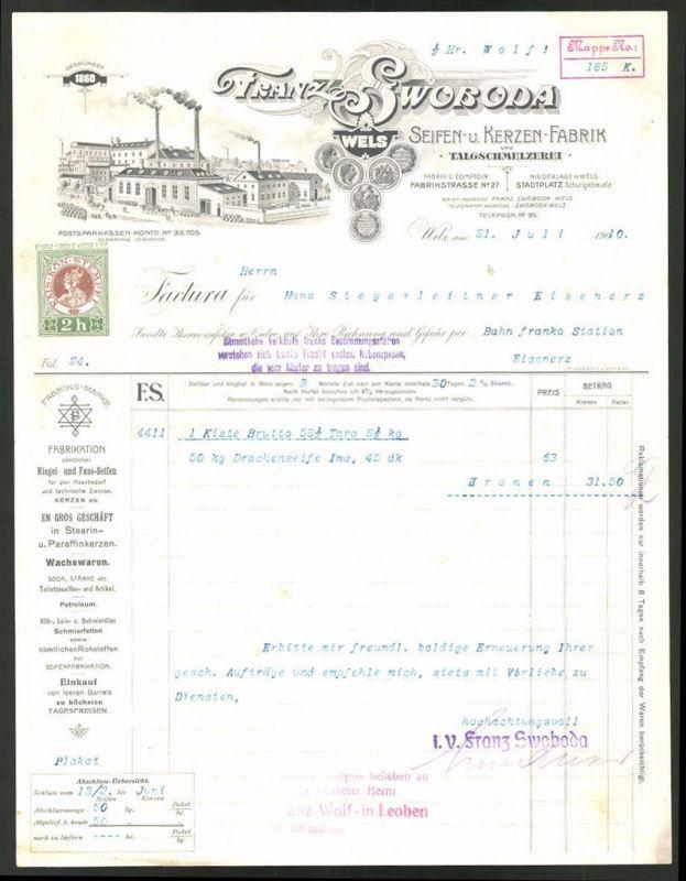 Rechnung Wels 1910, Seifen und Kerzen-Fabrik Franz Swoboda, Fabrik und Medaillen