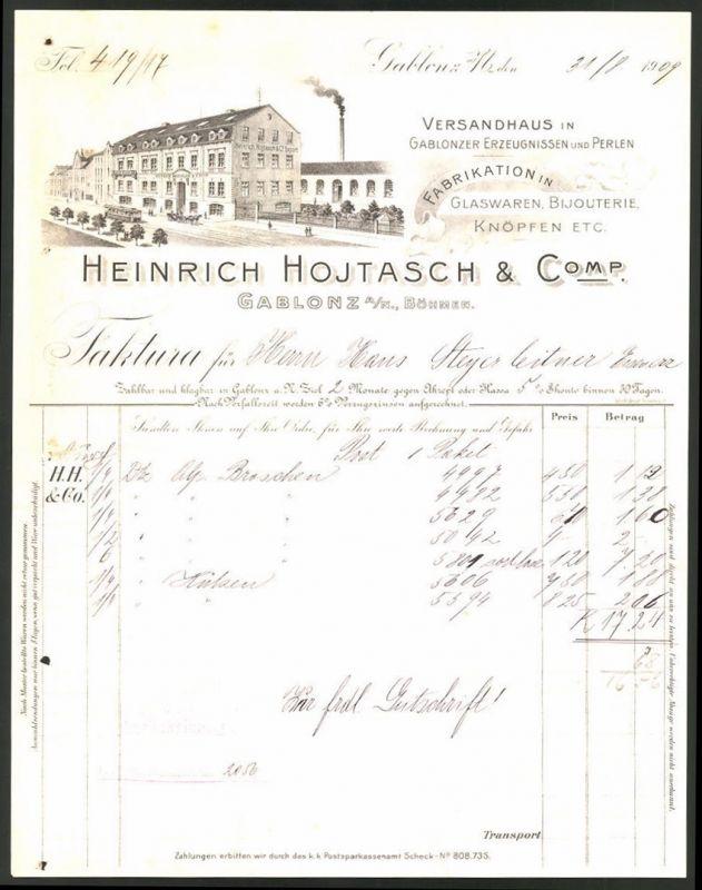 Rechnung Gablonz 1909, Glaswaren & Knöpfe-Fabrikation Heinrich Hojtasch & Comp., Strassenbahn vor Fabrik