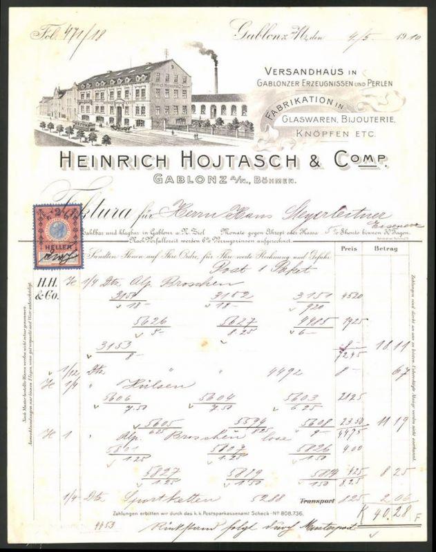 Rechnung Gablonz 1910, Versandhaus & Glaswaren-Fabrikation Heinrich Hojtasch & Comp., Fabrik & Strassenbahn