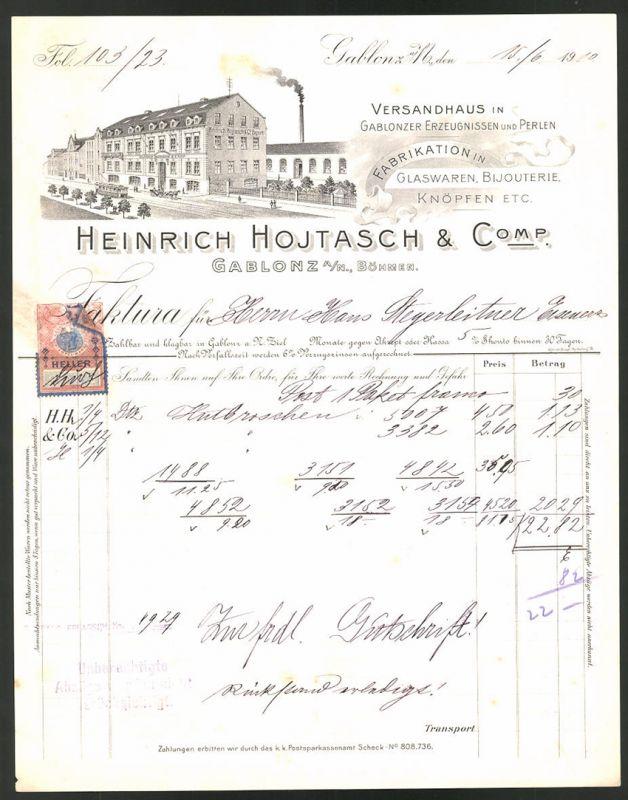 Rechnung Gablonz 1910, Versandhaus & Glaswaren-Fabrikation Heinrich Hojtasch & Comp., Strassenbahn & Fabrik
